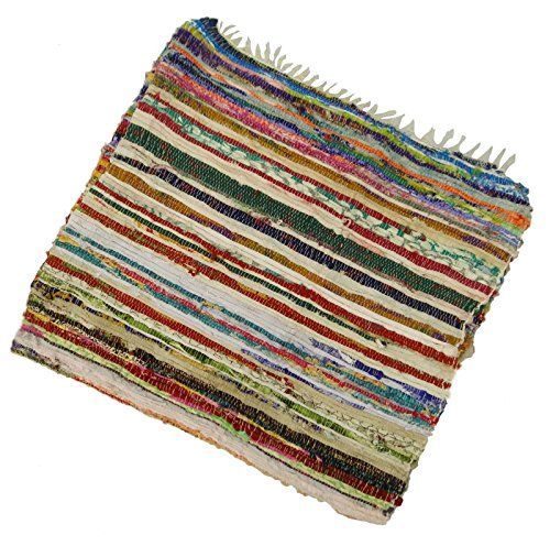 Handmade Indian Chindi Cotton Rugs Floor Carpet Hand Woven Recycled Rug Dari 72X43 Inches