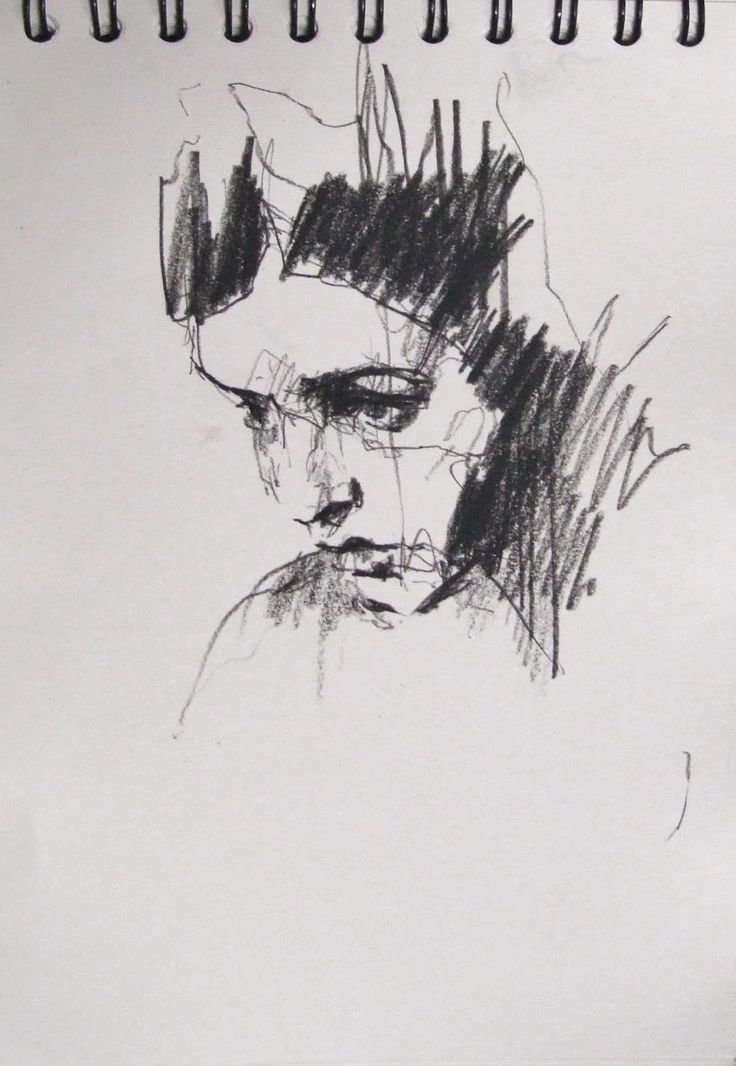 Guy denning female face drawingpencil artabstract