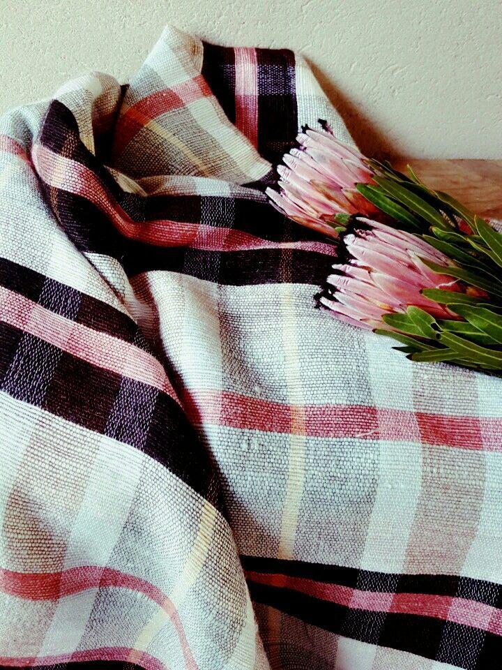 Protea pink mohair plaid blanket