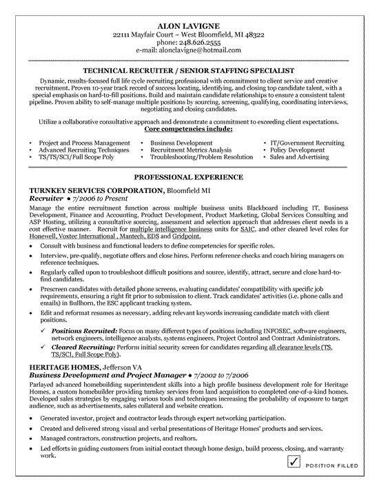 technical recruiter resume example