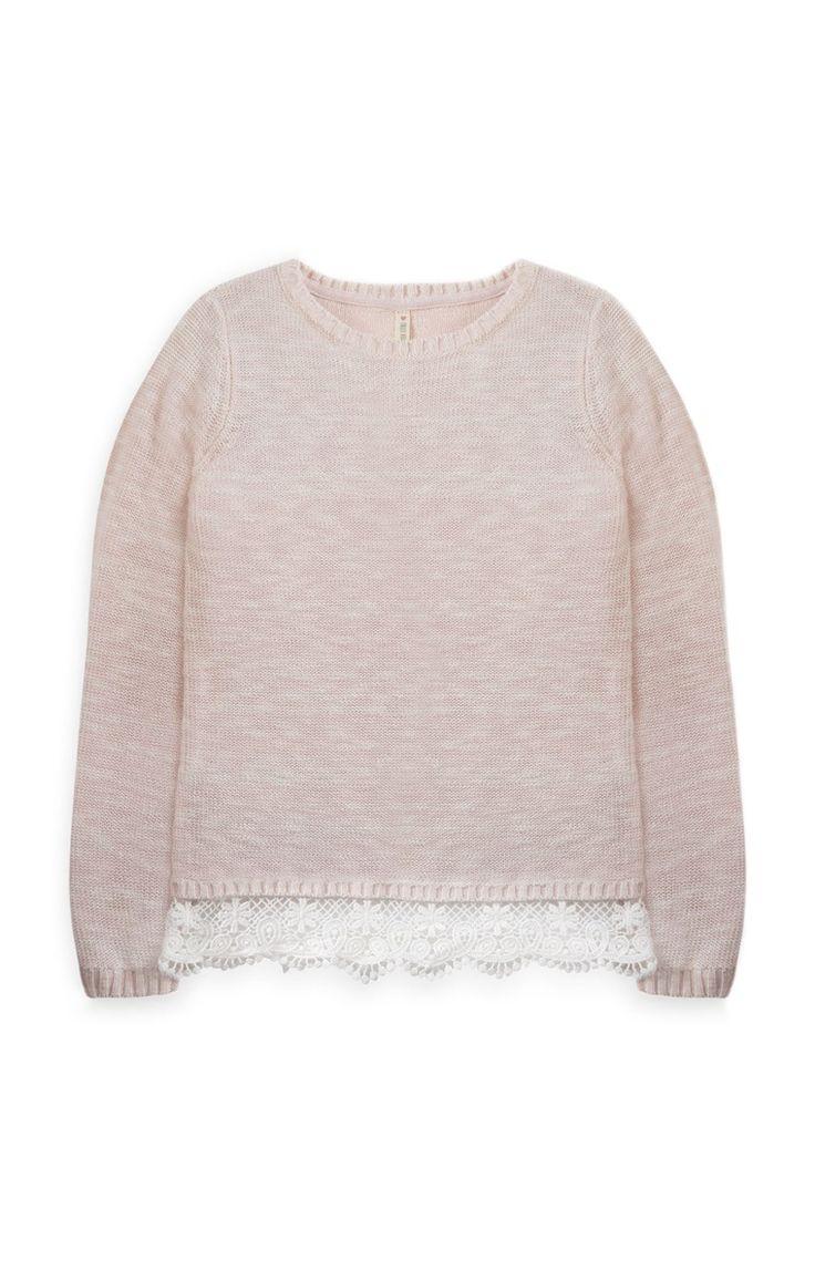 Primark - Roze trui met gehaakte boord