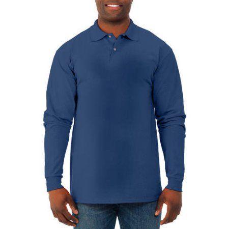 Jerzees Spot Shield Men's Long Sleeve Polo Sport Shirt, Size: Small, Blue