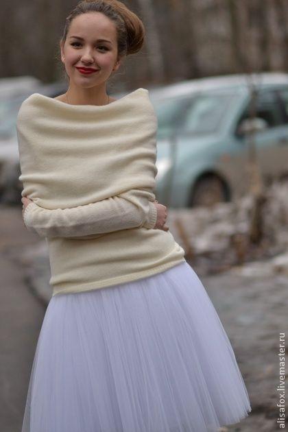 Юбка из фатина для взрослых - белый,однотонный,юбка пачка,юбка шопенка