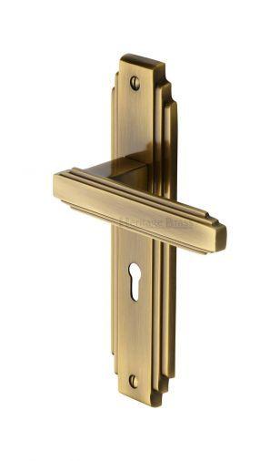 Heritage Brass Ast5900 At Door Handle Lever Lock Astoria Design Antique Finish Antique Brass Door Handles Art Deco Door Door Handles