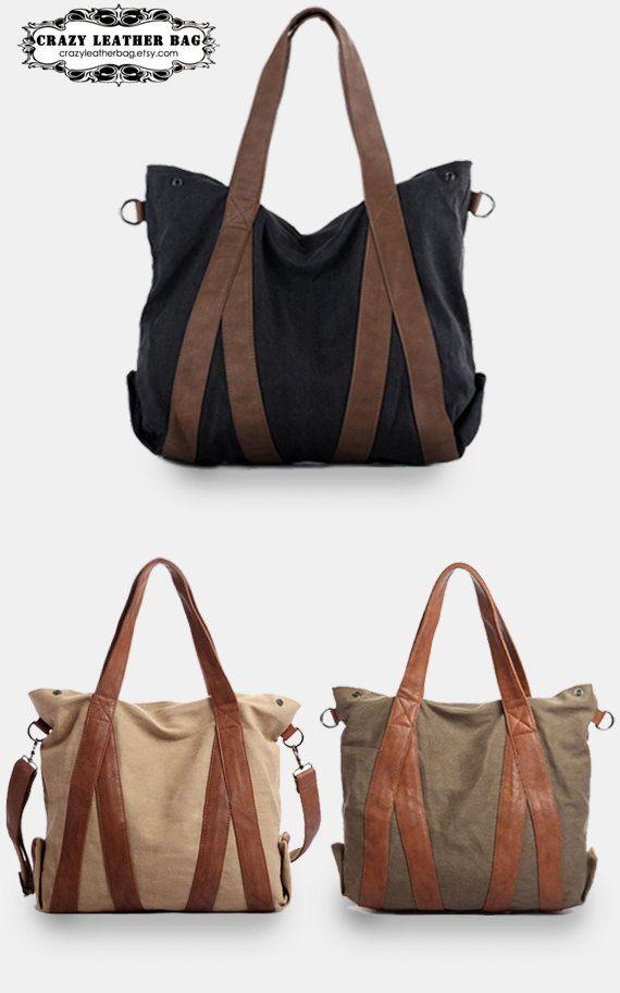 Large Canvas tote bags / women bag / Briefcase / Laptop / Women's ...