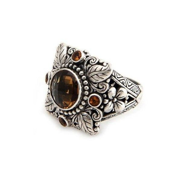 NOVICA Sterling Silver and Smoky Quartz Cocktail Ring (5.615 RUB) ❤ liked on Polyvore featuring jewelry, rings, citrine, cocktail, statement rings, sterling silver smoky quartz ring, golden crown, smoky quartz ring and handcrafted sterling silver rings