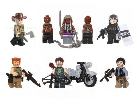 These custom designed Lego mini figures are based upon Rick, Daryl, Michonne, Glenn, Abraham and the Governor from the popular Walking Dead