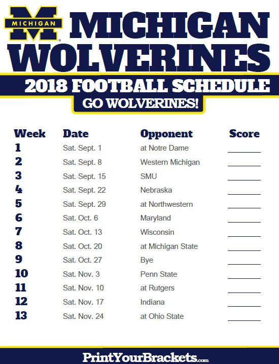 2018 Printable Michigan Wolverines Football Schedule