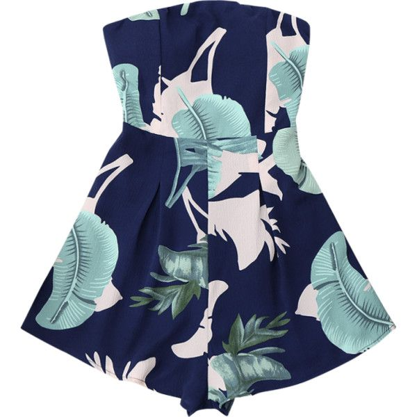 Padded Leaf Print Bandeau Romper ($20) ❤ liked on Polyvore featuring jumpsuits, rompers, playsuit romper, bandeau jumpsuit, playsuit jumpsuit, blue jumpsuit and romper jumpsuit