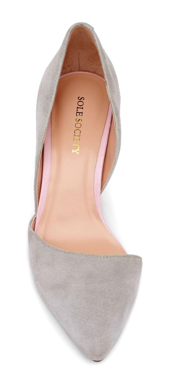 Pointy toe, gray, d'orsay shoes