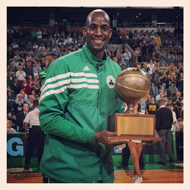Kevin Garnett, recipient of the Red Auerbach Award, given to a Celtics player or coach that best exemplifies the spirit and meaning of what it is to be a Celtic. 2012