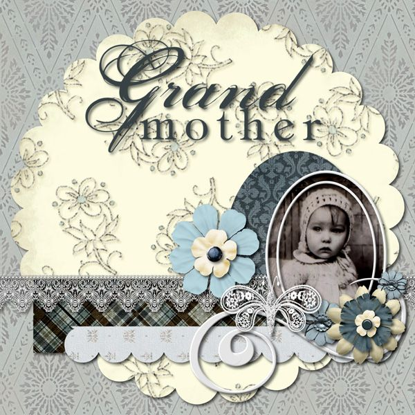Grandmother...a variety of scalloped shapes and swirls give this monochromatic baby page great vintage charm.