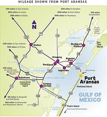 coastal map to port aransas
