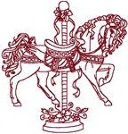 Cherokee Rose Redwork Carousel Horse Embroidery Design