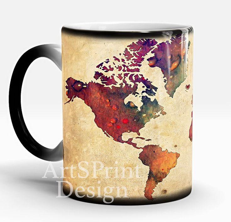 WORLD Map Mug, Map of the World Mug, Color Changing Mug, Coffee Mug, Coffee Cup