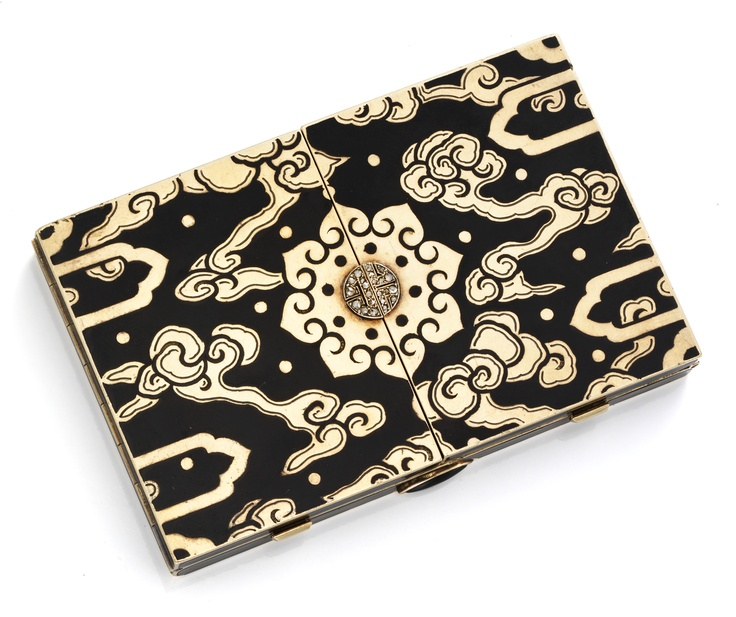 An Art Deco Enamel, Gold and Diamond Vanity Case, Opening to Reveal Two Compartments - a Lipstick Holder and Two Mirrors. Signed Black Starr & Frost, circa 1930. Available Exclusively at FD Gallery. www.fd-inspired.com