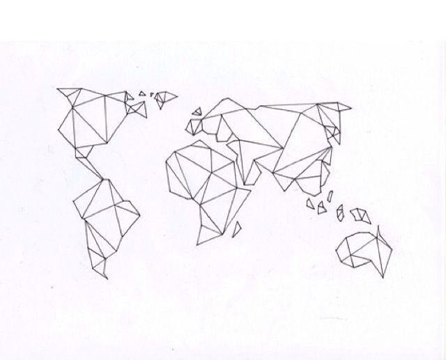 Minimalistic world map. An awesome geometric art. It's nice to put this as a tattoo on wrist :3