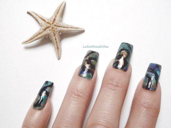 abalone nail tips paua shell pearl green glue by LaSoffittaDiSte