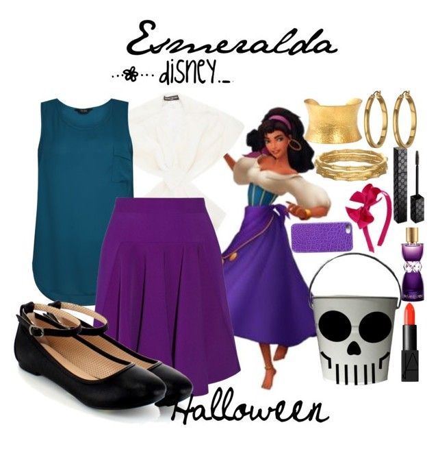 """Esmeralda Halloween"" by disneydotunderscoredotfashion ❤ liked on Polyvore featuring Disney, Henri Gruber Paris, STELLA McCARTNEY, NARS Cosmetics, Gucci, Yves Saint Laurent, Lauren Ralph Lauren, Yossi Harari and Maison Takuya"