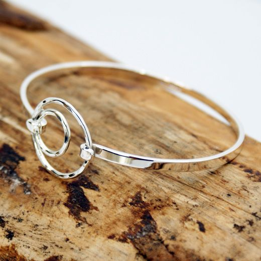Pura Mexico Sterling Silver Circles Bangle - Modern, Stylish