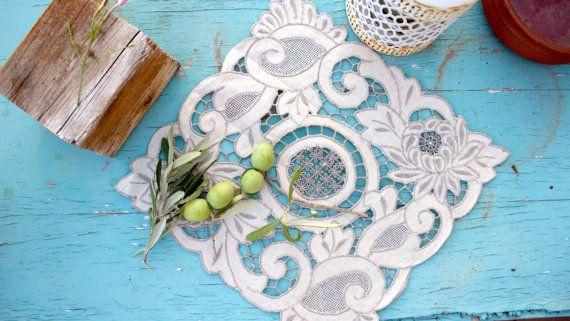 Vintage Linen CutworkVenice lace square doily by BelladonaVintage