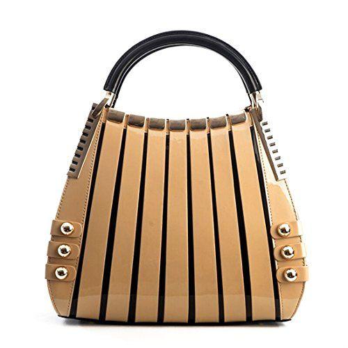 SALE PRICE -  906.75 - Bravo Beverly Hills Luxury HANDBAG~Irina Signature  Series~Cream   Black Leather Handbag~Size Medium- 35% OFF SALE! 5de484e072
