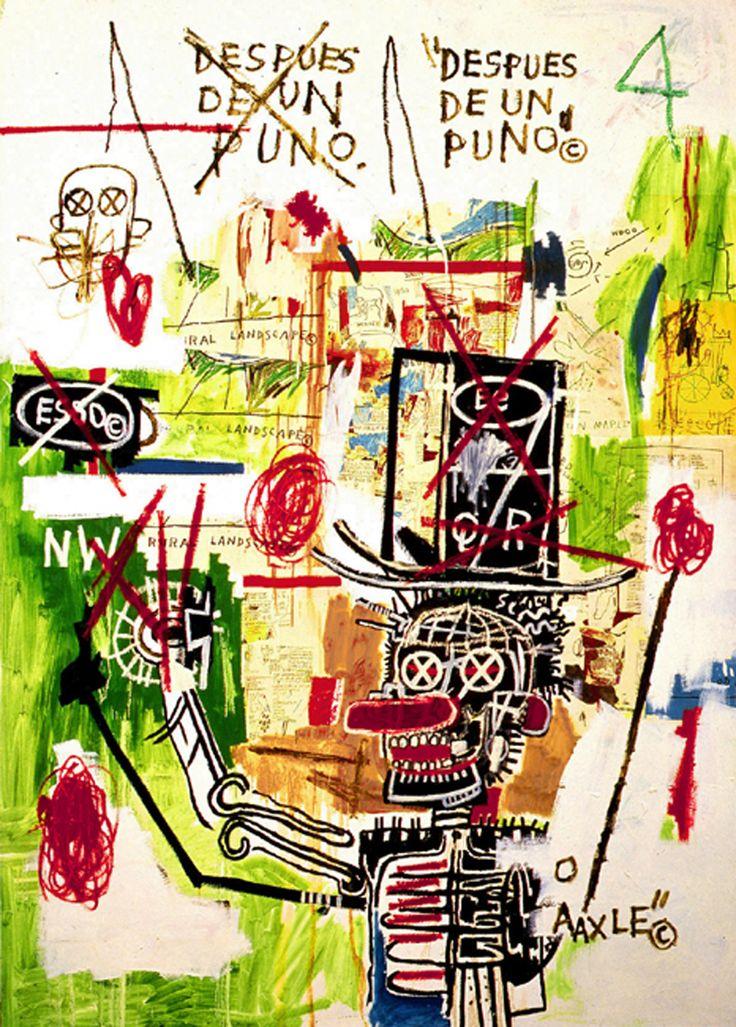 Jean-Michel Basquiat, Despues De Un Puno, 1987.  Acrylic, Oilstick and Xerox Collage on Canvas. 213.4 by 152.4cm.