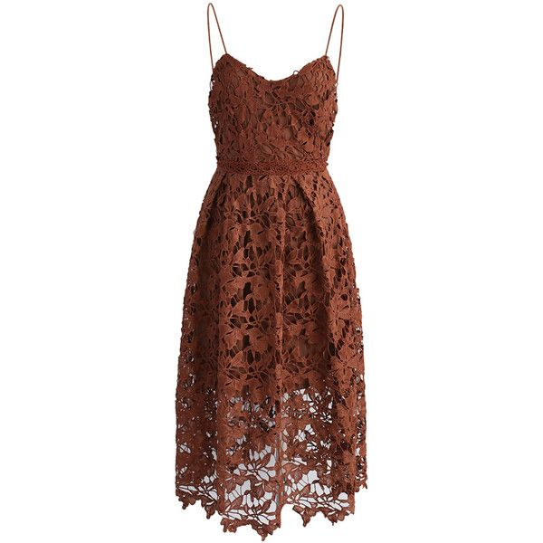 Chicwish Ingenious Crochet Cami Dress in Tan ($62) via Polyvore featuring dresses, brown, spaghetti strap cami, sheer cami, sheer dress, macrame dress and see-through dresses