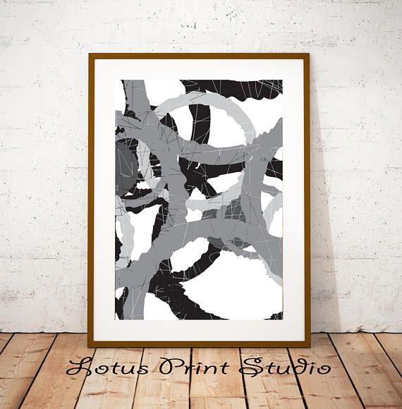 Digital Abstract Art  Print Grey Black White Wall Art