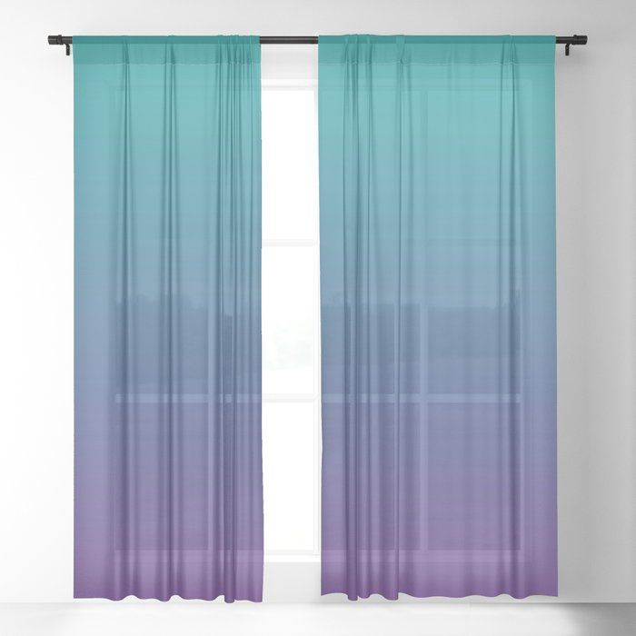 Ombre Color Gradients Gradient Two Tone Teal Purple Sheer Curtain By Eclectic At Heart 50 Teal Curtains Purple Sheer Curtains Light Blue Curtains