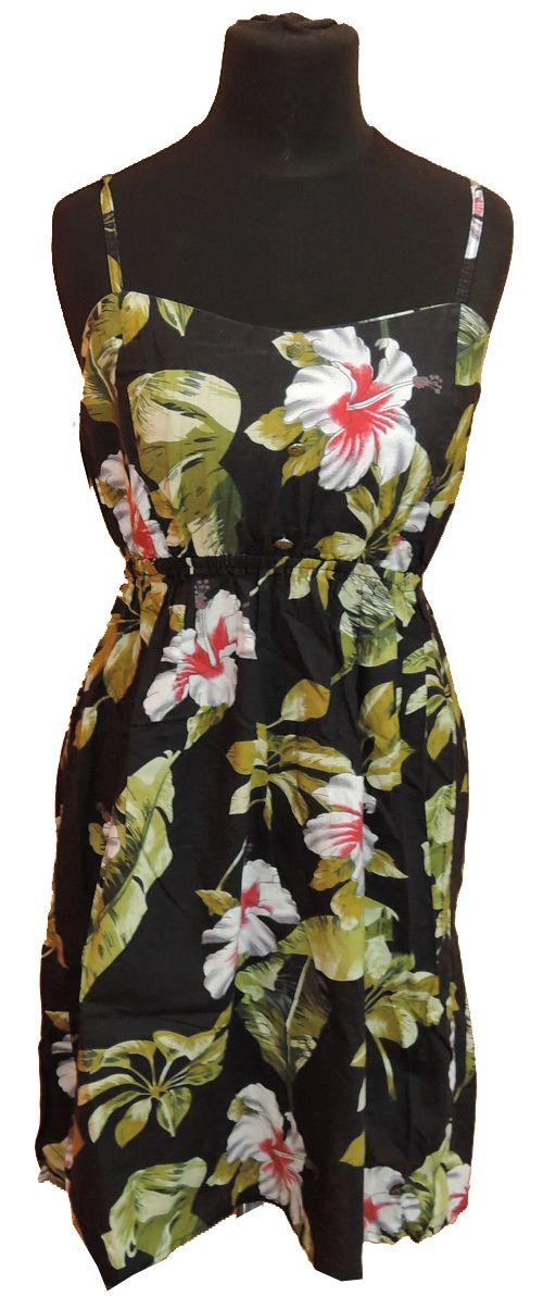 BRUMLA.CZ – Značkový dětský a dospělý second hand a outlet, použité oděvy pro děti a dospělé - Dámské černé plátěné květované šaty zn. Atmosphere