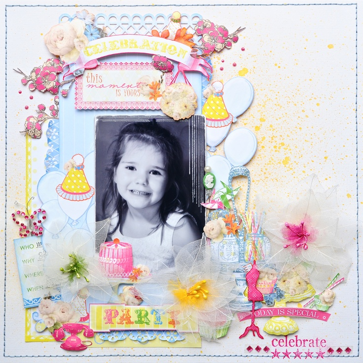 Party ~Webster`s Pages~ - Scrapbook.com - Such a delicate and pretty page. #scrapbooking #layout #marthastewartcrafts #rangerink #websterspages #Scrapbook Ideas, Scrapbook Com, Layout Marthastewartcrafts, Layout Scrapbook, Scrapbook Layout, Parties Webster, Marthastewartcrafts Rangerink, Rangerink Websterspag, Scrapbooking Layouts