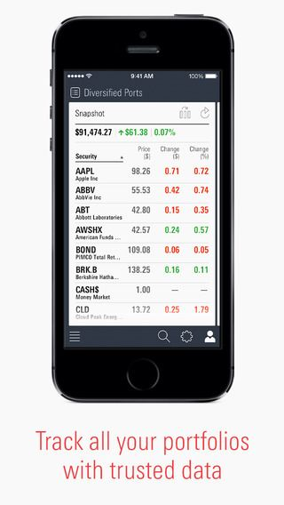 Morningstar mobile apps (tablet and phone) track your portfolio overlaid with their third party ratings