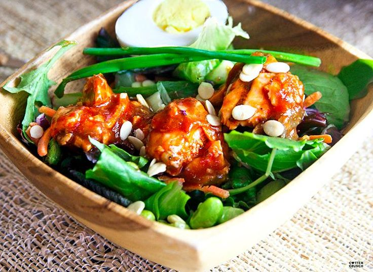 Sweet and Spicy Asian BBQ Salmon Salad: A delicious light lunch or Dinner made with a sweet and spicy sauce and grilled salmon! Goes great with Edamame salad. Healthy and full of antioxidants! Helps the body with Lycopene absorption, too!