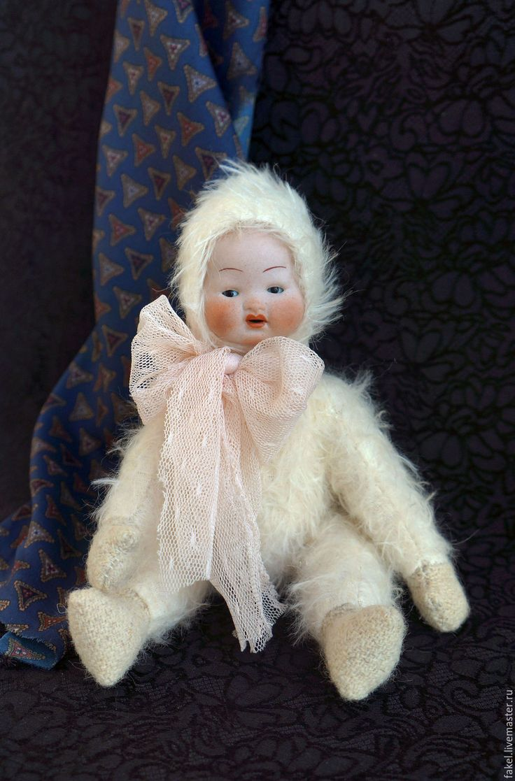 Купить Яку, тедди-долл в антикварном стиле - белый, тедди-долл, антикварная кукла