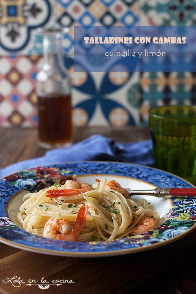Lola en la cocina: Tallarines con gambas, guindilla y limón