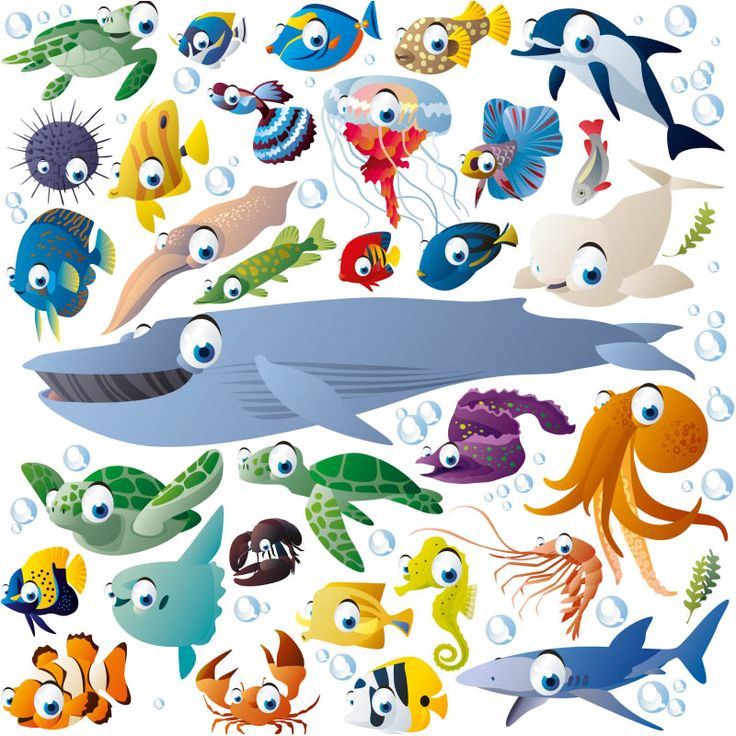 Funny cartoon sea creatures with big eyes. Whales, turtles, exotic fish, octopus, shrimp, squid, jellyfish, sea urchins and many others. Free download.