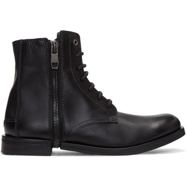 Diesel Black D-Zipphim Boots ($330) ❤ liked on Polyvore featuring men's fashion, men's shoes, men's boots, black, mens black shoes, mens black lace up boots, mens round toe cowboy boots, mens zipper boots and mens distressed boots