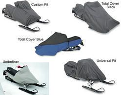Snowmobile covers for Yamaha FX Nytro or RTX or XTX or MTX 2008 to 2014 snowmobiles. Choice of covers include the custom fit, universal fit, the total cover in blue and black and the underliner.