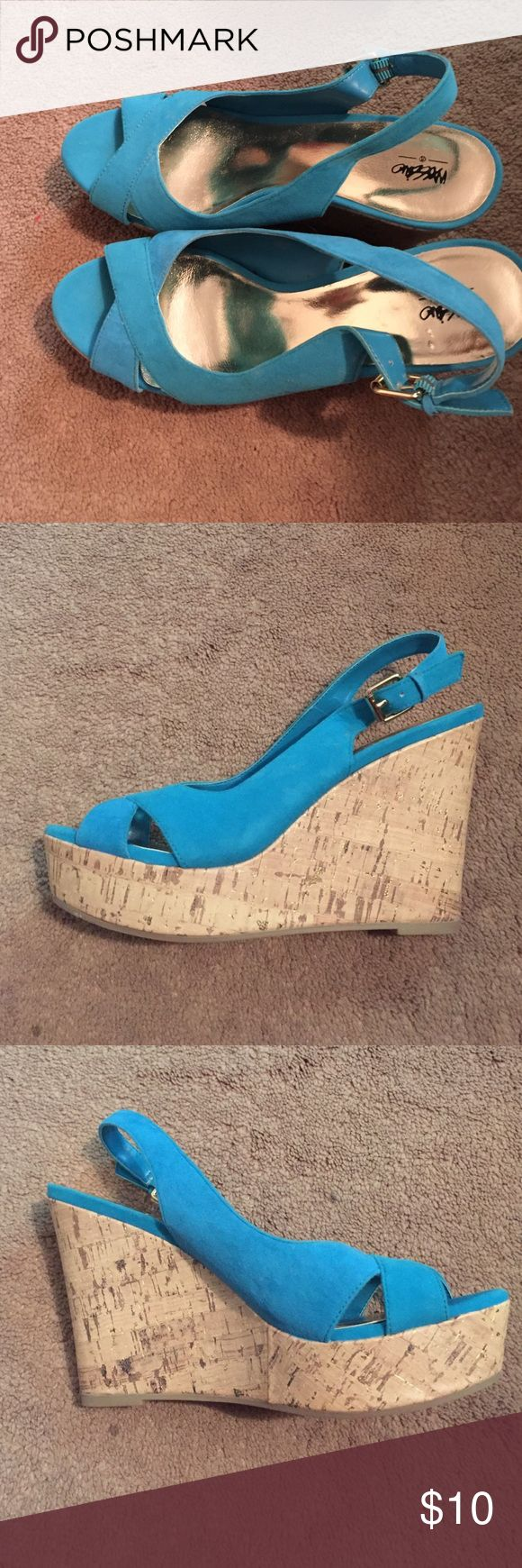 Blue cork wedges Blue wedges with cork bottom from target.Only worn once so in great condition! Shoes Wedges