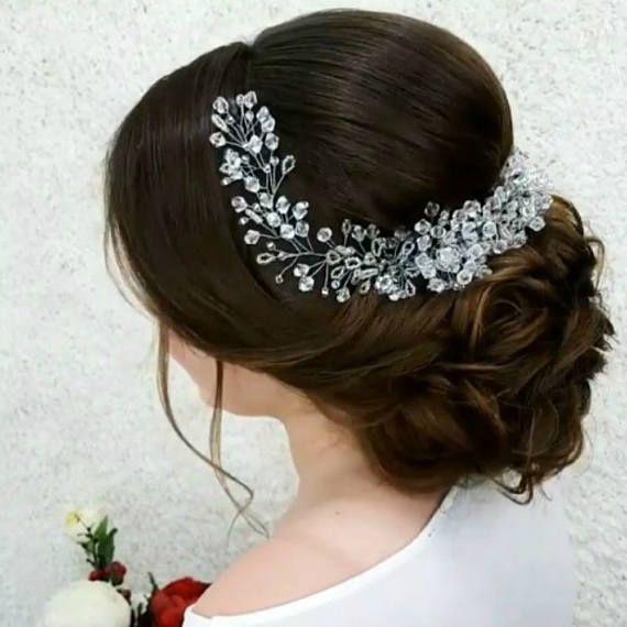 Bridal hair vine Crystal hair piece Baby breath headband