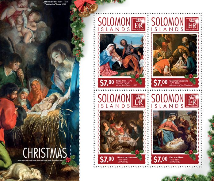 Post stamp Solomon Islands SLM 14612 a	Christmas (Titian (1498-1576), The Holy Family with a Shepherd, c. 1510, {…}, Carl von Blaas, (1815-1894), The Nativity)