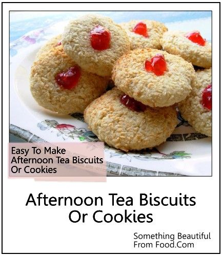 """Afternoon Tea Biscuits or Cookies - 'Light as a feather' and meltingly crisp English style biscuits, or cookies. You can replace cherry with a different fruit like raspberry or blueberry. They so melt in your mouth - when is tea time? I am so ready. #afternoon_tea_biscuits, #decorate_dreamhouse""""_english_country_cottage""""_bonus""""_recipe, #English_tea""""_cookies"""