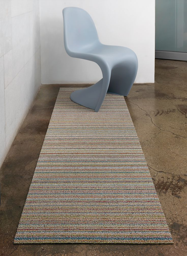 PROPS WITH CHILEWICH | SHAG RUNNER IN SOFT MULTI SKINNY STRIPE | PANTON CHAIR: VITRA