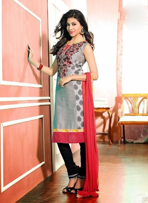 Astonishing Grey & Pink Chiffon Based #Salwar #Suit With Resham Work #churidarsuits #ethnicwear #womenapparel #womenfashion