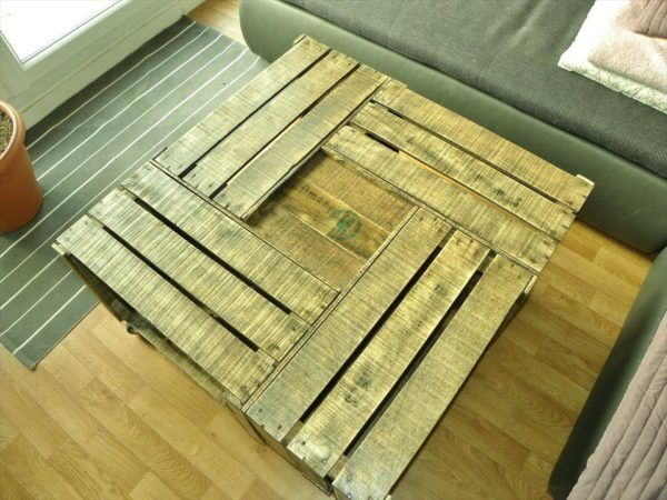 no-cost wooden pallet crate coffee table