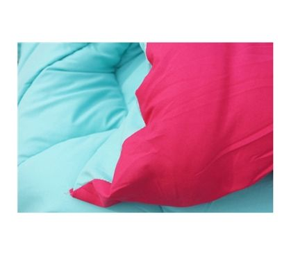 Microfiber - Caribbean Ocean/Knockout Pink Reversible College Comforter - Twin XL - Dorm Bedding