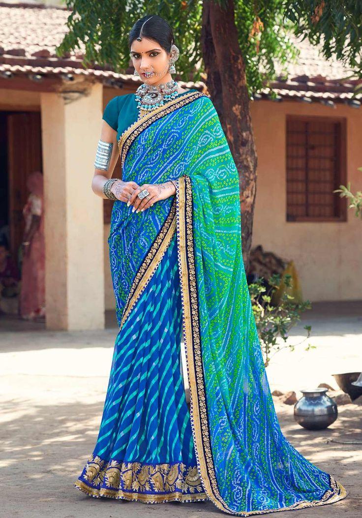 Georgtte Blue Traditional Leriya With Bandhej Dual Print Gujarati Saree