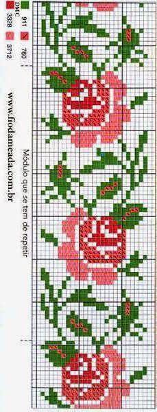 Esquinas de flores en punto cruz
