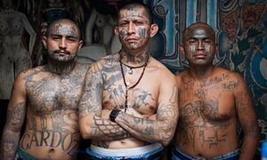 Inmates of the Penal de Ciudad Barrios, reserved for members of the MS-13 gang.